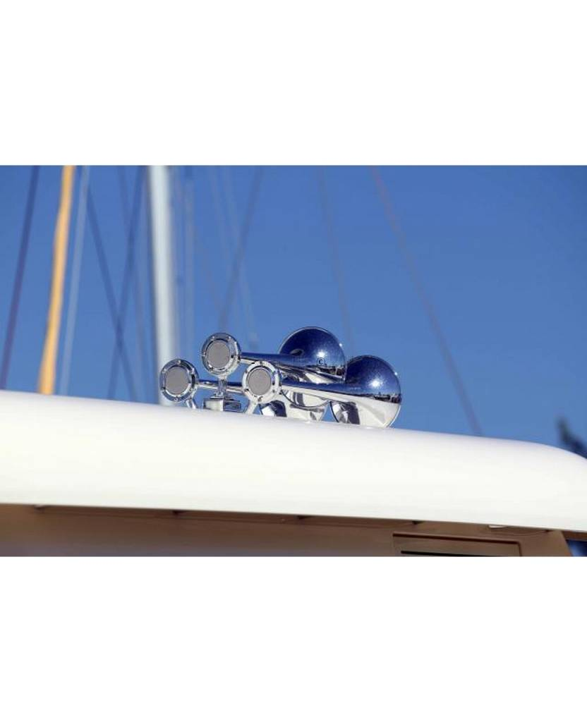 Kahlenberg T-0A Ship Horn, drie trompetten, witte poedercoating of verchroomd