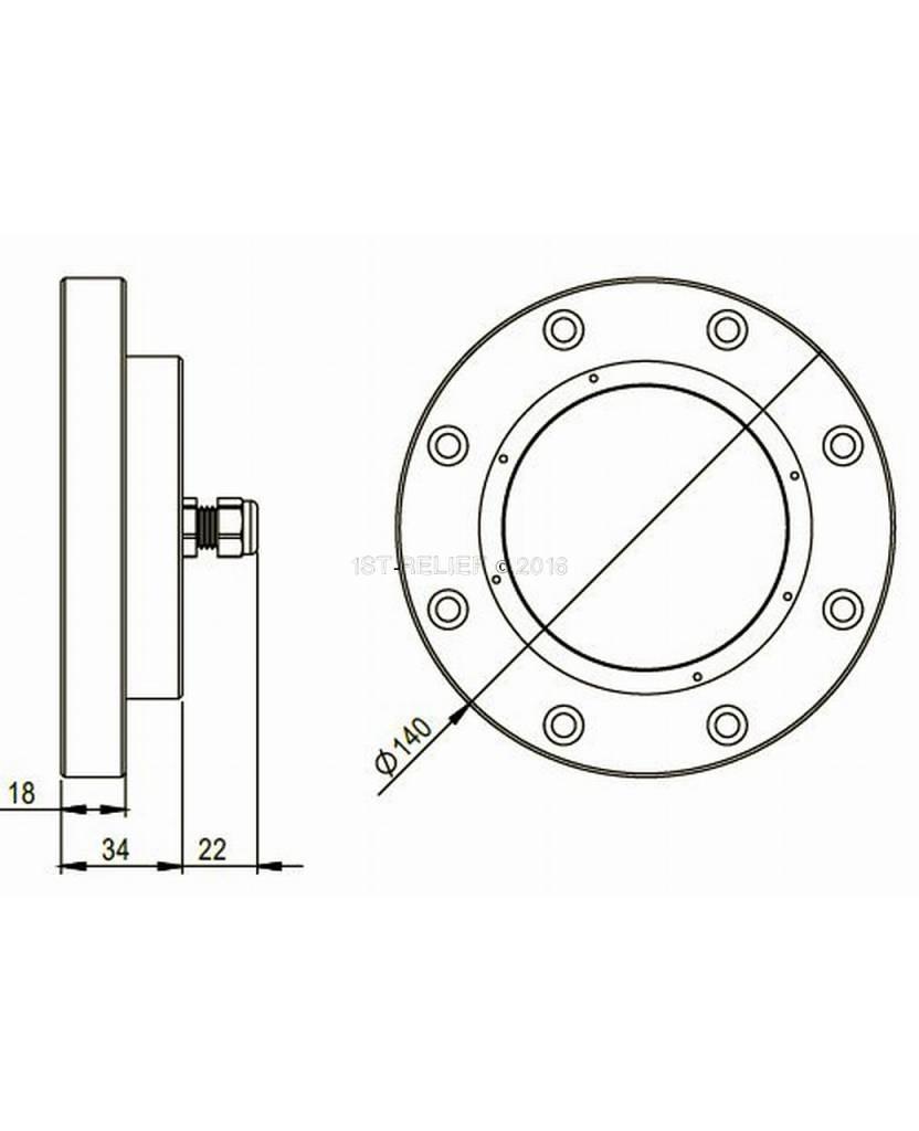 Astel Superyacht Unterwater LED Light Convex MSR18240S