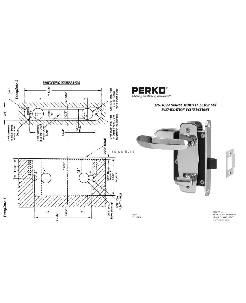 Perko Cabindoor - Compact Mortise Klink Set met handgrepen, deur-sluitknop