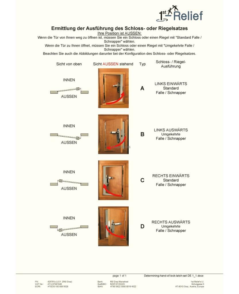 Perko Kabinen Türbeschlag mit Wangen, Drücker und Einsteckschloss; Verriegelung