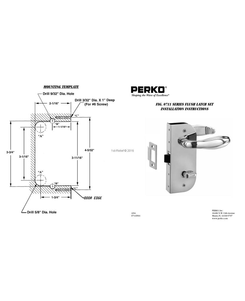 Perko Cabindoor - Flush latch set with Handles, door-latch knob