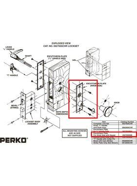Perko Kabinen Türbeschlag - Ersatzfrontschild mit Schlüssel