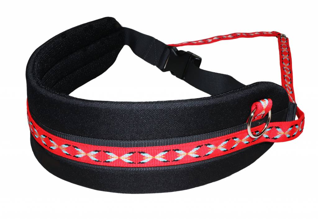 Handsfree Dog Walking Running Jogging Waist Belt + Leash with integrated Bungee - Red
