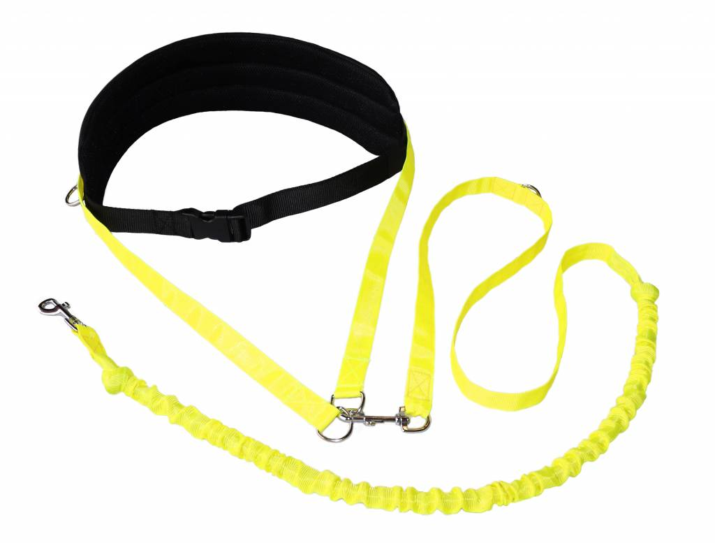 Handsfree Dog Walking Running Jogging Waist Belt + Leash with integrated Bungee - black neonyellow