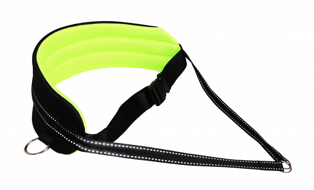 LasaLine Handsfree Dog Walking Running Jogging Waist Belt - Neonyellow Pedding/black