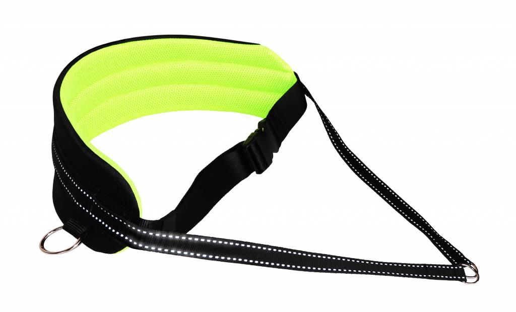 LasaLine Mains-libres chien marchant Courir jogging Ceinture -jaune néon /noir