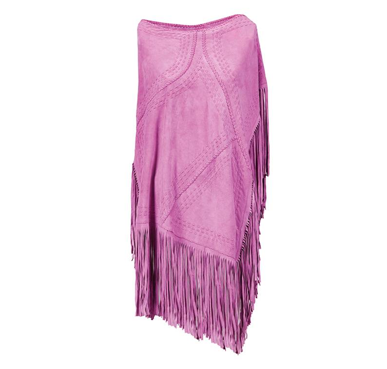 Suede Poncho Pink