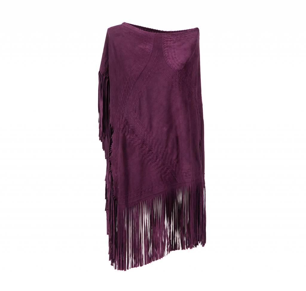 Suede Poncho Deep Purple