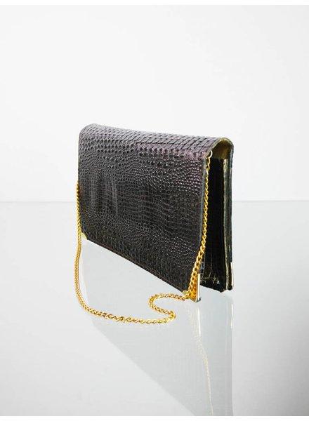 28fdec4d46 Braune Vintage Leder Handtasche in Reptil Optik