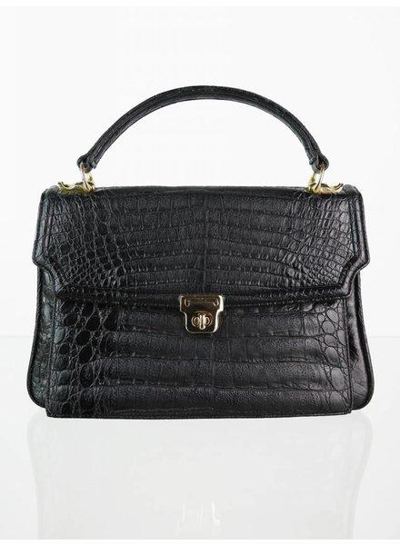 4af2011a2c Schwarze Vintage Handtasche in Reptil-Optik