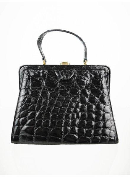 065eef82e3 Schwarze Echtleder Vintage Handtasche Schwarz