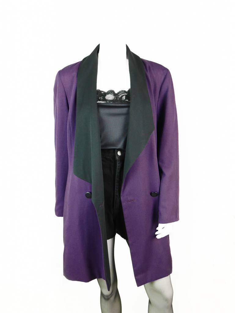 Eleganter vintage apart blazer in lila schwarz   velvet vintage