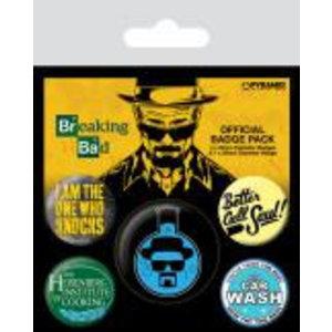Merchandising BREAKING BAD - Pack 5 Badges - Heisenberg Flask