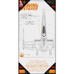 Merchandising STAR WARS 7 - GLASS POSTER - X-Wing Blue Print - 50X25 cm