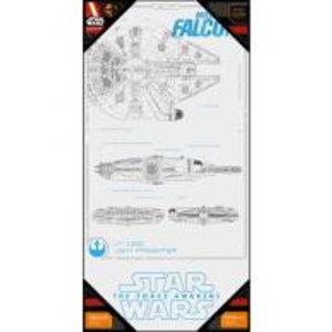 Merchandising STAR WARS 7 - GLASS POSTER - Millenium Falcon Blue Print - 50X25 cm