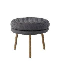 Bloomingville Kind Pouf, Quilted Grey Cotton w/Smoked Oak Legs