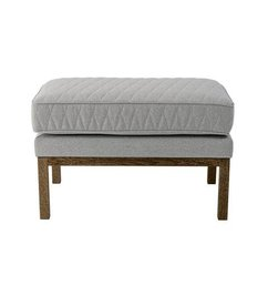 Bloomingville Settle Pouf, Quilted, Lt. Grey w/Smoked Oak Frame