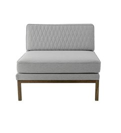 Bloomingville Settle Lounge Chair, Quilted, L. Grey w/Smoked Oak