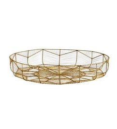 Madam Stoltz XL round wire work bowl with geometric shape antique brass
