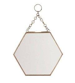 Madam Stoltz Spiegeltje 'hexagon' koper -S-