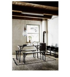 Madam Stoltz Table with two benches black