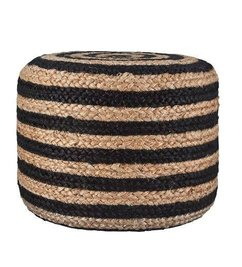 House Doctor Poof 'Hemp' jute with black stripe