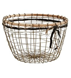 Madam Stoltz Wire basket w/ wood and ribbons