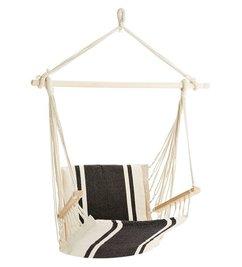 Madam Stoltz Hangstoel off white - zwart