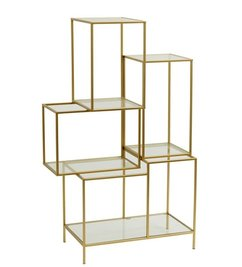 Nordal Metal rack with glass shelves - Gold