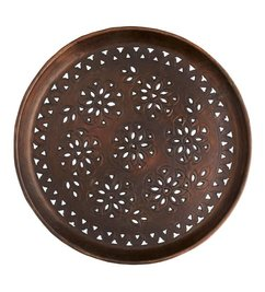 Madam Stoltz Round tray w/ cut out  brown