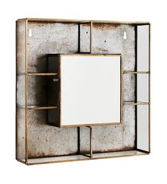 Madam Stoltz Wall box w/ shelfs and mirror ant. Brass