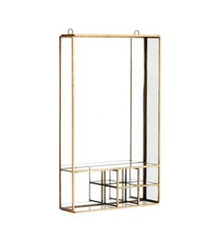 Madam Stoltz Wall mirror w/ shelfs ant. Brass