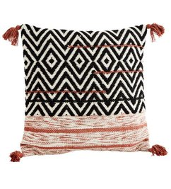 Madam Stoltz Cushion cover w/ tassels  off white - paprika - black