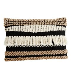 Madam Stoltz Cushion cover w/ fringes  black - off white