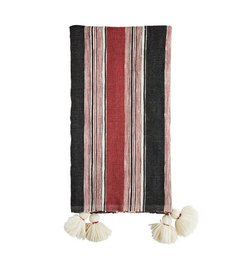Madam Stoltz Handwoven throw off white - paprika-darkgrey