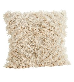 Madam Stoltz Cushion cover w/ fringes off white