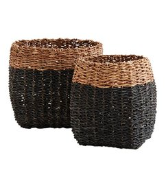 Madam Stoltz Bamboo rope baskets black - brown