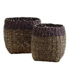 Madam Stoltz Bamboo rope baskets darkgrey