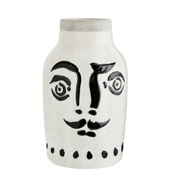 Madam Stoltz Ceramic vase with face black - white 16 cm