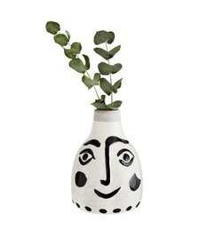 Madam Stoltz Ceramic vase with face  black - white 14 cm