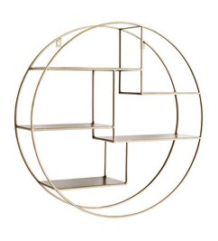 Madam Stoltz Round wall shelf ant. brass