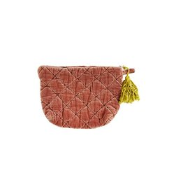Madam Stoltz Quilted velvet clutch Light mahogany - mustard