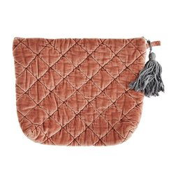 Madam Stoltz Quilted velvet clutch Light mahogany - grey