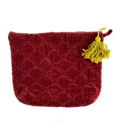 Madam Stoltz Quilted velvet clutch ruby wine