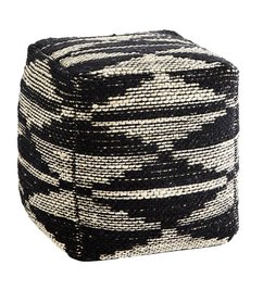 Madam Stoltz Handwoven pouf - Black/naturel