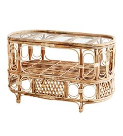 Madam Stoltz Oval bamboo coffee table - Clear glass