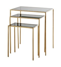 Madam Stoltz Console table set of 3 - Brass w/ smoke glass