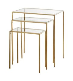 Madam Stoltz Console table set of 3 - Brass w/ clear glass