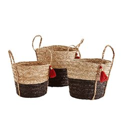 Madam Stoltz Baskets set of 3 with tassels