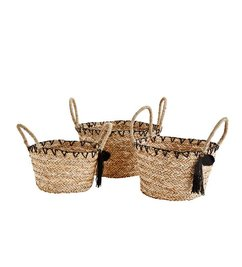Madam Stoltz Basket set of 3 with pompon and tassels